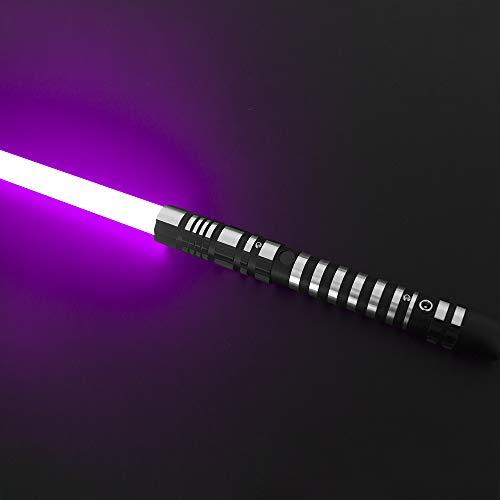 YDDSABER Lightsaber Led Light Metal Aluminum Hilt, Ghost Premium Force FX Black Series Light Saber for Adults, Support Real Heavy Dueling (Purple)
