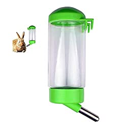 Flammi Pet Water Bottle Hanging No Drip Chew Proof 450ml/15oz for Puppy Cat Rabbit Small Animals, Automatically Feeding Water (Green)