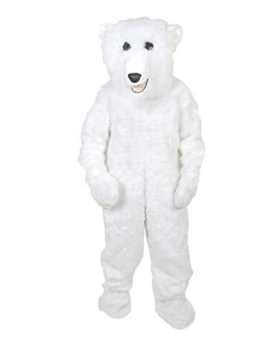 Eisbär Fell Kostüm Einheitsgrösse XXXL - XXXXL Fasching Karneval Fastnacht Maskottchen fuer Personen bis 2,0 Meter Grösse