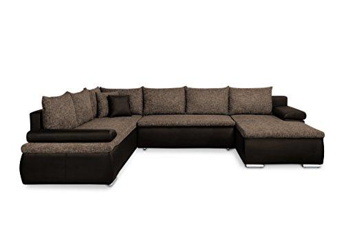 Mein Sofa XXL Wohnlandschaft Cali braun mit Schlaffunktion und Bettkasten, Circa 180 x 322 x 250 cm, Sitzhöhe 42 cm, Mix aus Kunstleder und Webstoff, Recamiere Links oder rechts verwendbar …