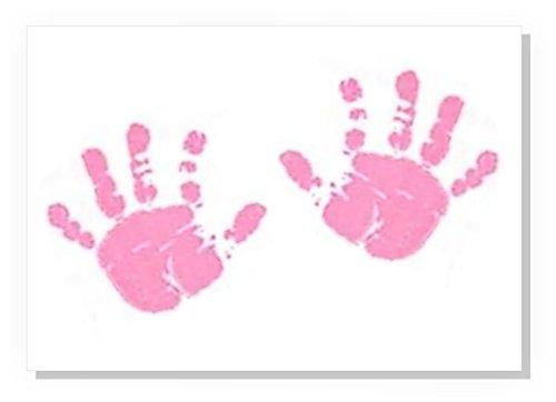 BabyRice Handabdruck-Set für Hand- und Fußabdruck, A4, 1 rosa Tuch + A4 Leinwand, Pink
