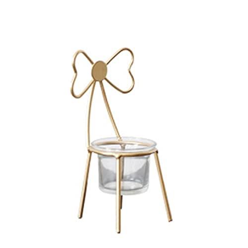 AIYIYOO Silla de Hierro de Metal candelabros de luz de té Centro de Mesa Adornos Cera de té Velas de candelita de Boda a Granel