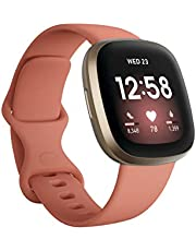 Fitbit Versa 3 Health & Fitness Smartwatch with GPS, 24/7 Heart Rate, Alexa Built-in, 6+ Days Battery, One Size (S & L Bands Included)