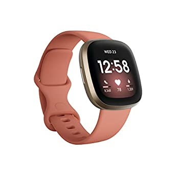 Fitbit Versa 3 Health & Fitness Smartwatch with GPS 24/7 Heart Rate Alexa Built-in 6+ Days Battery Pink/Gold One Size  S & L Bands Included