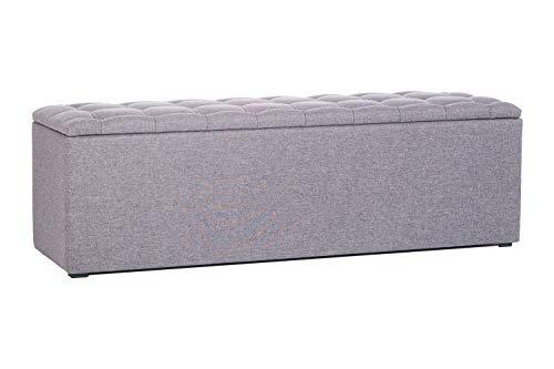 Bettbank King mit 150 Liter Stauraum in versch. Farben | Aufbewahrungstruhe für Boxspringbetten | Edle Sitzbank in 115 x 44 x 40 cm | Ausführung Hellgrau