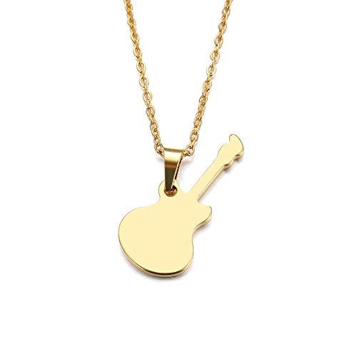 Collar de acero inoxidable para mujeres y hombres amantes Colgante de guitarra de color dorado y joyería de compromiso de plata-Couleur o