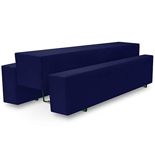 Beautissu Basic M Bierbank-Hussen & Biertisch-Husse 3 TLG Set 70cm breite Festzeltgarnitur Bierzeltgarnitur Dunkel-Blau & weitere Farben
