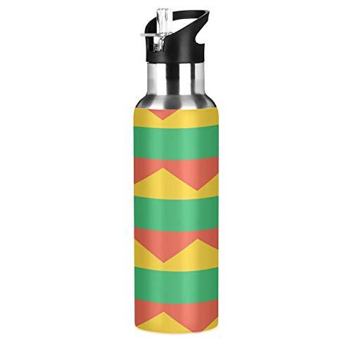 Botella de agua deportiva con diseño de bandera de Lituania de acero inoxidable 304, botella de agua aislada al vacío con pajita (600 ml)