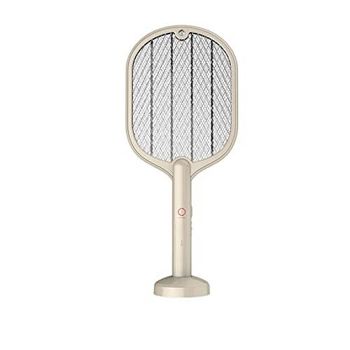 Goodvk Matamoscas Eléctrico 3000V 3 En 1 Swatter De Insecto Eléctrico Zapper USB Recargable Mosquito Botas Fácil de Usar (Color : Beige, Size : One Size)