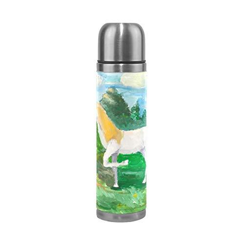 Emoya Watercolor Flasque isotherme en acier inoxydable avec motif de licorne Vert sapin 0,5 l