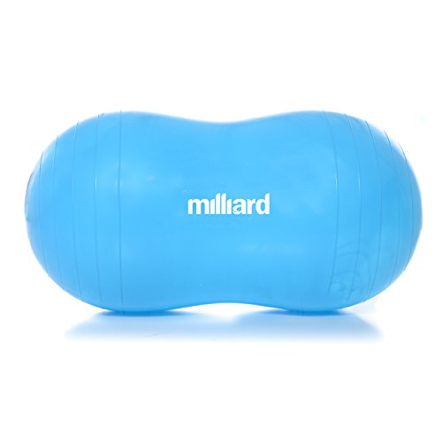 Milliard Peanut Ball Blue Approximately 31x15 inch (80x40cm) Physio Roll for Exercise, Therapy, Labor Birthing and Dog Training