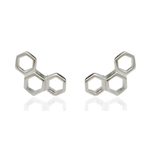 Pendientes de plata de ley 925 con diseño geométrico de panal de abeja hexagonal de Galbla.
