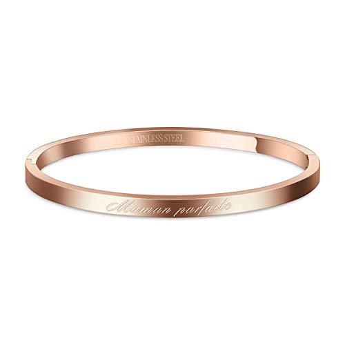 AURSTORE® Bracelet Jonc Fin en Acier Inoxydable 316L avec Message Phrases d'Inspiration Largeur 4...