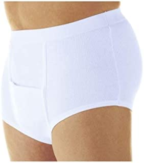 Men's Horizontal Fly Incontinence Briefs - Washable Reusable Bladder Control Underwear SM - 3-Pack