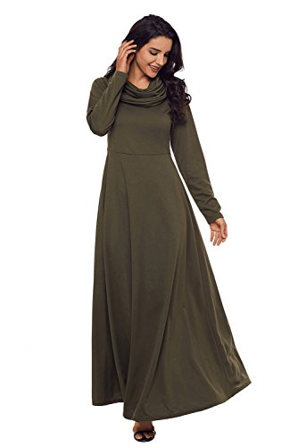 AlvaQ Women's Maternity Cowl Neck Long Sleeve High Waisted Pleated Swing Maxi Long Dress Medium Green