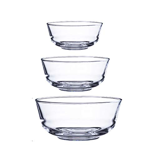 HAOXIANG Glass Salad Bowl Set, Household Heat-Resistant Stackable Mixing Bowls for Storage, Serving-Transparent, Dishwasher, Refrigerator and Oven – 3 Piece,Tempered Glass