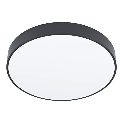 EGLO Access LED Deckenleuchte Zubieta-A, 1 flammige Wandlampe, Aufbauleuchte aus Stahl und Kunststoff in Schwarz, Weiß, mit Fernbedienung, Farbtemperaturwechsel (warm, neutral, kalt), dimmbar, Ø 30 cm