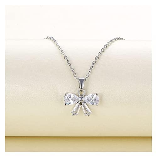 SFQRYP Collar Colgante Lindo Collar de Zircon Blanco geométrico Collar de Moda Simple para Las Mujeres Regalos de Compromiso (Length : 45cm, Metal Color : White)
