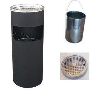 ゴミ箱 灰皿 ゴミ箱付き灰皿A-085B、業務用ゴミ箱(ブラック)、スタンド灰皿、屋外灰皿、喫煙所、スタンド型灰皿、屋外用灰皿、べランダ、ごみ箱、業務用ごみ箱、灰皿付きゴミ箱