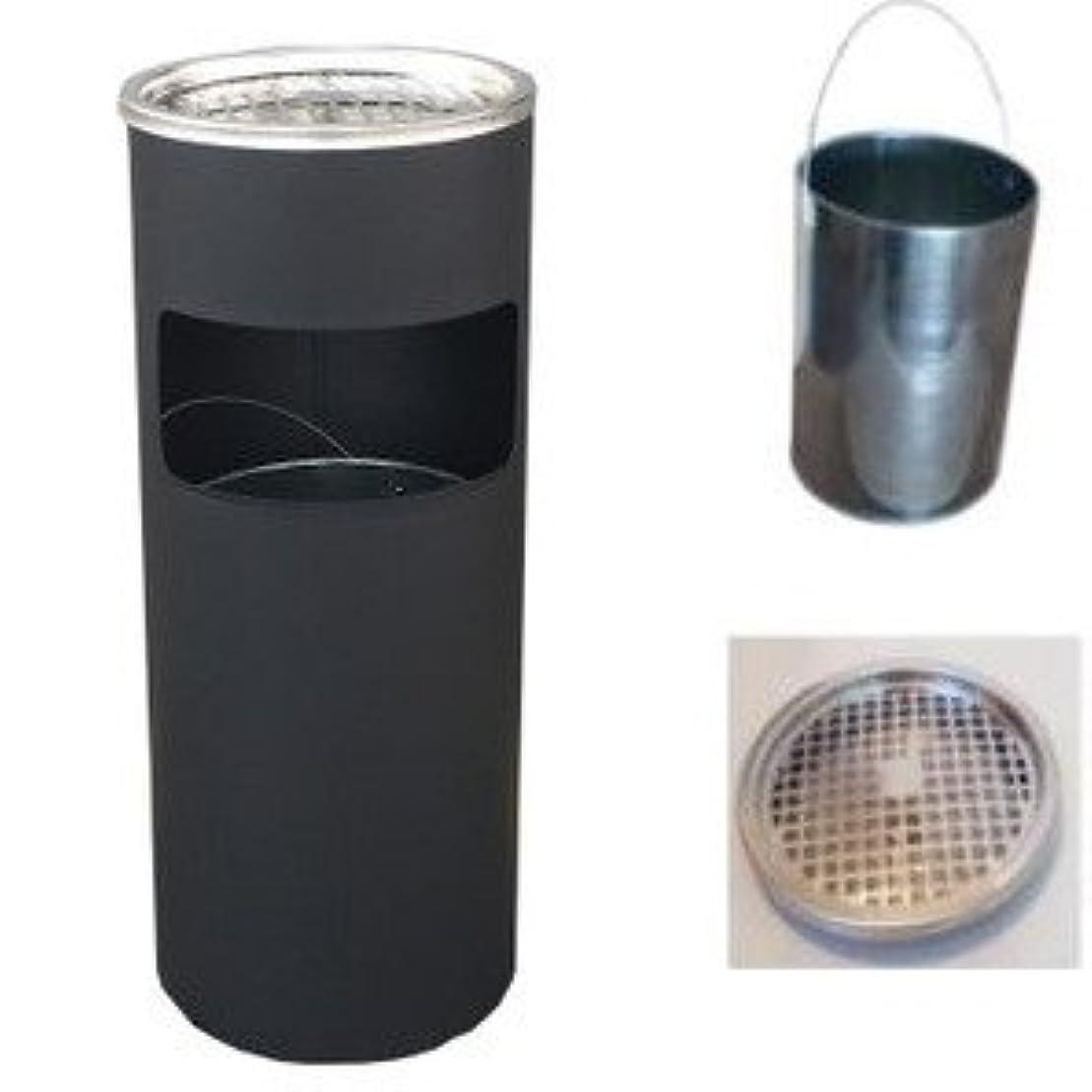 隔離花にじみ出るゴミ箱 灰皿 ゴミ箱付き灰皿A-085B、業務用ゴミ箱(ブラック)、スタンド灰皿、屋外灰皿、喫煙所、スタンド型灰皿、屋外用灰皿、べランダ、ごみ箱、業務用ごみ箱、灰皿付きゴミ箱