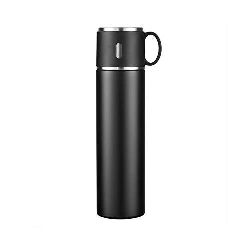 XVXFZEG 316 Edelstahl Wasserflasche, 24-Stunden-Wärmedämm-Schwarz-Wasserflasche, beweglicher Sport Kettle Geeignet for Männer und Frauen zu Arbeiten, Sport und Reisen, 580ml Studenten Kettle