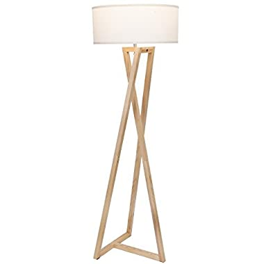Brightech Z  Wood Tripod LED Floor Lamp - Mid Century Modern Light for Living Rooms & Family Rooms - Tall Standing Lighting for Contemporary Bedrooms & Offices