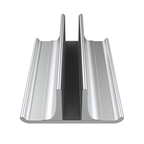 YLWX Vertical Laptop Stand,Aluminum Desktop Vertical Stand Holder with Adjustable Dock Size One Slot (Silver),Silver