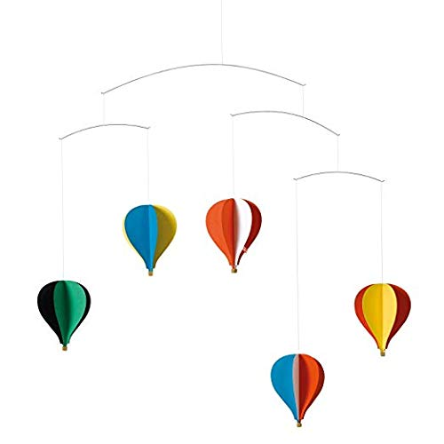 Flensted Mobiles Balloon 5 Mobile, Stahl, Mehrfarbig, 53x62 cm