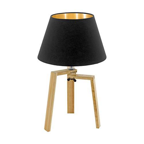 EGLO Chietino tafellamp, 1 vlammige tafellamp Nature Design, bedlampje gemaakt van hout, stof en staal, zwart, goud, natuur, fitting: E27, incl. schakelaar