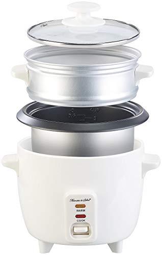 Rosenstein & Söhne Multikocher: Mini-Reiskocher mit Dampfgar-Einsatz & Warmhaltefunktion, 0,5 l, 350 W (Gardampfkochtopf)