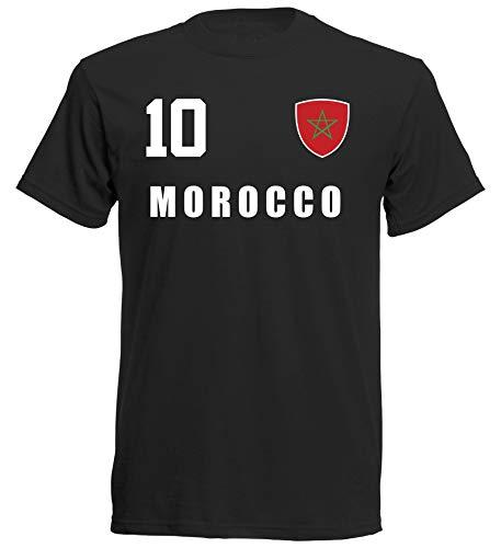 Marruecos ALL10 MAR - Camiseta, diseño de Marruecos, color negro Negro M