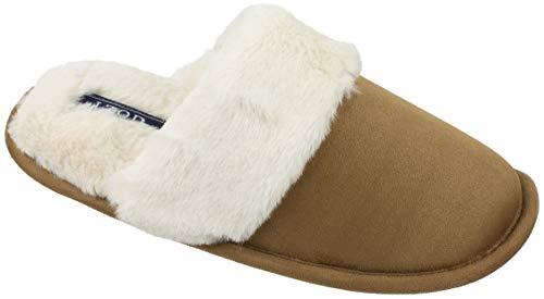 IZOD Women's Memory Foam Slippers, Suede Upper and Plush Collar, Slip on Scuff House Slipper, Medium / 7-8, Tan Beige
