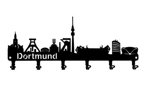 steelprint.de Schlüsselbrett/Hakenleiste * Skyline Dortmund * - Schlüsselboard - Nordrhein-Westfalen - Ruhrpott - 6 Haken