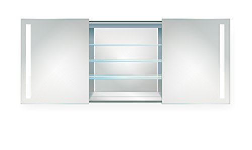 Krugg   LED Medicine Cabinet 48 Inch X 30 Inch   Lighted 2 Sliding Mirror Doors & Defogger + 3 Glass Shelves