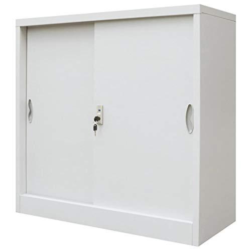 vidaXL Büroschrank mit Schiebetüren Metall Grau Metallschrank Aktenschrank