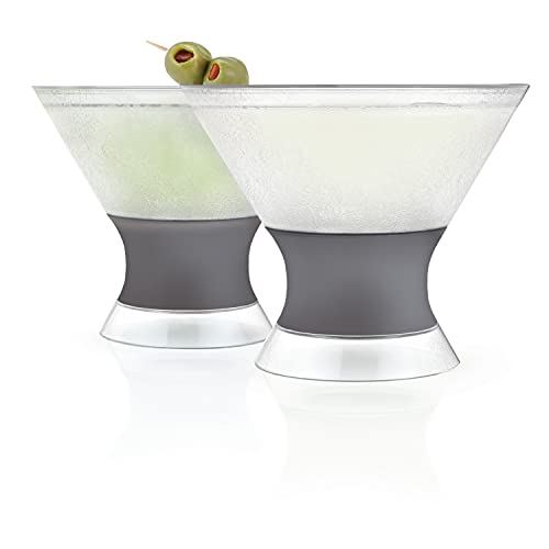 HOST Freeze Insulated Martini Cooling Cups Freezer Gel Chiller Double Wall Stemless Cocktail Glass Set of 2, 9 oz, Grey