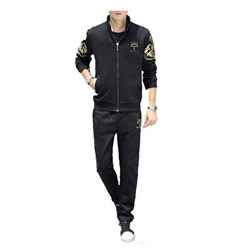 Covermason Homme Survêtement Ensemble Pantalon De Sport + Sweat-Shirt Veste Jogging Survêtement Manches Longues Zipper Slim Fit Veste T-Shirt d'automne Hiver (3XL, Noir)