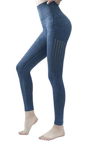 PAROTIAS Yoga Pants Women's Seamless High Waisted Workout Leggings Butt Lifting,Blue, L