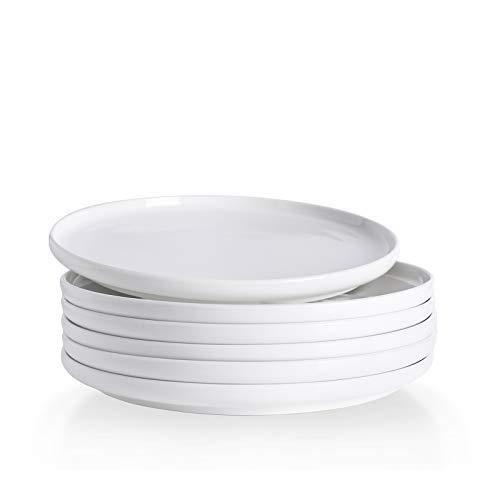 Kanwone Porcelain Dessert Salad Plates - 8 Inch - Set of 6, White, Microwave and Dishwasher Safe Plates