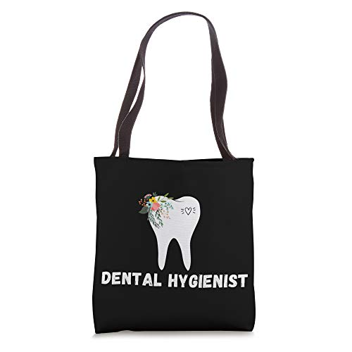dental hygienist pretty tooth with flowers Oral hygiene gift Tote Bag New Hampshire