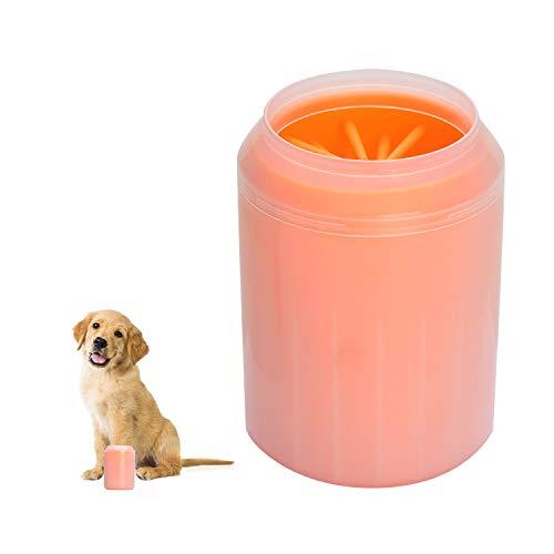 Songway Pet Piede Lavaggio Tazza Cane Gatto Cucciolo Pulitore Zampa Portatile Spazzola in Silicone Rimovibile Pulizia dell\'impronta di Sabbia Fango Sporco per l\'animale Domestico Attivo (Orange, M)