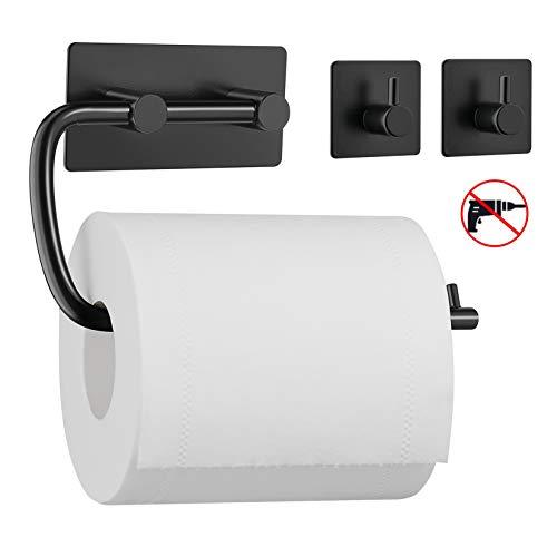 UMI. by Amazon - Toilettenpapierhalter mit Zwei Haken ohne Bohren, Handtuchhalter Kleiderhaken aus 304 Edelstahl, selbstklebend mit Kleber, Badezimmer Set aus 3 Stücken -Schwarz
