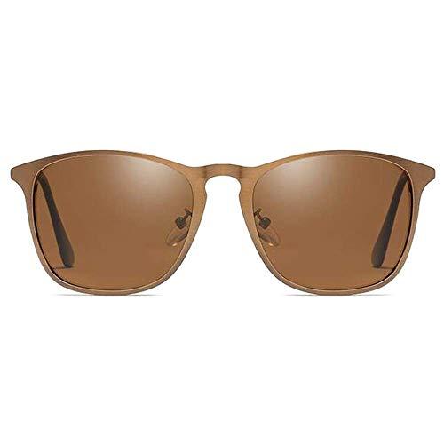 SSM Gafas de Sol Retro Nuevo Metal Gafas de Sol Gris/Marrón M Gris/Marrón Lente Hombres Y Mujeres con Las Mismas Gafas de Sol de Conducción Polarizadas Clásico/Marrón