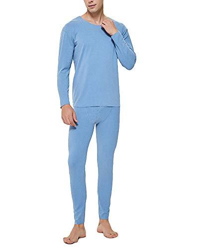 Hombres Invierno cálido Esquí Traje de Ropa Interior Térmica Manga Larga Cuello Redondo Camiseta Interior y Pantalón para Correr, Esquiar, Ciclismo, Entrenamiento Claro Azul XXXL