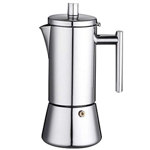 Cafetera italiana de acero inoxidable con filtro y mango resistente al calor para estufa de gas o cocina de inducción, 6 tazas
