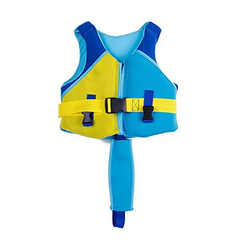 Chaleco de NatacióN de Flotador Swim Vest para NiñOs Secado RáPido 1 a 8 AñOs Neopreno Correa de Entrepierna Ajustable para Deportes AcuáTicos,Blue,L