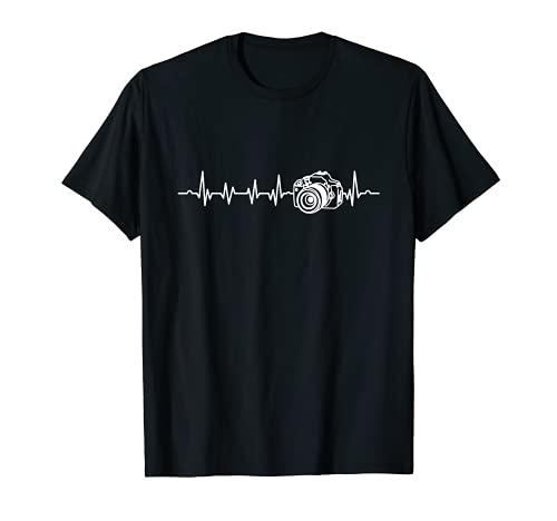 Kameramann Heartbeat Fotograf Shutterbug Kamera T-Shirt
