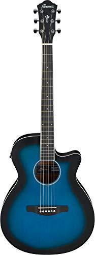 IBANEZ AEG Series AEG7-TBO - Guitarra acústica y eléctrica (6 cuerdas), color azul transparente