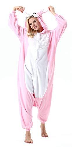 Adultos Animal Pijamas Cosplay Animales de Vestuario Ropa de Dormir Halloween y Carnaval Disfraces Conejo Rosa L
