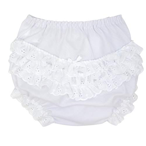 I.C. Collections Baby Girls White Batiste Rumba Diaper Cover Bloomers, Size XL